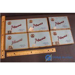 (6) Player's Cigarette Square Flat Tins