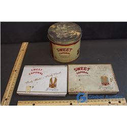 (2) Flat Sweet Caporal Cigarette Tins