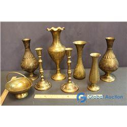 (8) Vintage Brass Vases, Candle Holders,