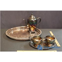 Antique Rodger's Silver Plate Tray, & Serving Set