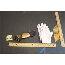 Mini Gloves, 4 Mini Change Purses, Sask. 1955 Gold Jubliee Ribbon