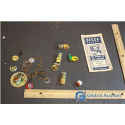 Vintage Misc Children's Buttons, Ring Whistle, Marbles, etc.