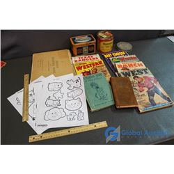 Stories, Colouring Papers, Crayola Tin, Dominion Tobacco Tin w/ Playing Cards
