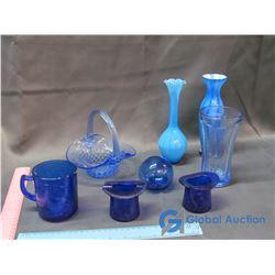 Blue Glass Decor - Vases, Basket, Toothpick Holders.etc.