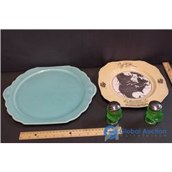 Medicine Hat Pottery Plate, Hudson Bay Collector Plate and Green Glass