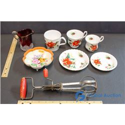 Lot of Misc Dishware (Red Glass, Royal Albert China)