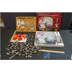 Lot of Misc Kitchen Related (Platters, Collector Spoons, Towel Rack)