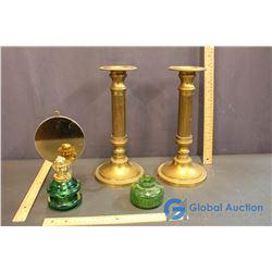 Brass Candlesticks & Mini Kerosine Lamp