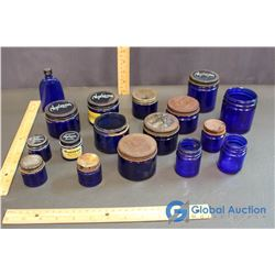 (17 Pieces) Various Sized Blue Glass Jars