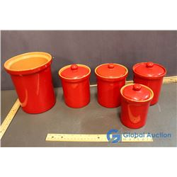 Ceramic Cannisters w/Large Utensil Holder
