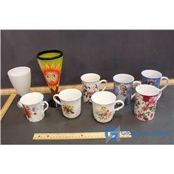 Lot of Assorted Coffee Mugs & (2) Sundae Cups