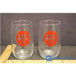 2 Red & White Food Store Glasses