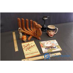 Table & Kitchen Recipe Book, Tea-Bisk Recipe Book; Trophy, Salt/Pepper Shaker (Japan) Wooden Peacock