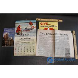 Hill's Sport Store Calendar (Nipawin); The Saskatoon Phoenix Paper from 1902, Book about Humboldt