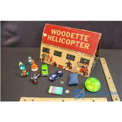 Assorted Toys - Barney Rubble, Smurf; Blue Hotwheels Car, etc