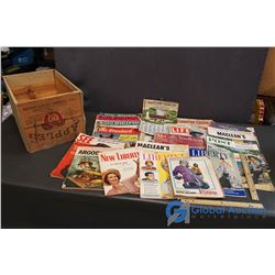 Wooden Apple Crate & Assortment of Vintage Magazines/Catalogues