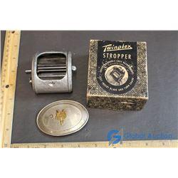 Belt Buckle (Nickel Silver) & Twinplex Stropper Double Edge Razor Blade Sharpener