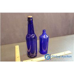 2 Cobalt Blue Bottles
