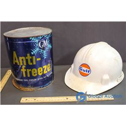 GM Anti-freeze Tin & Gulf Hard Hat