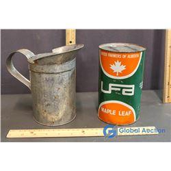 UFA Maple Leaf Mineral Moter Oil 1 Quart Tin Full and Oil Pitcher