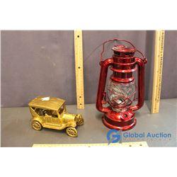 Decorative Barn Lantern & Gold Coloured Cast Car