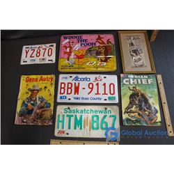 (3) License Plates, Framed Pepsi Ad, Vintage Winnie the Pooh Paintbox & (2) Western Comic Books