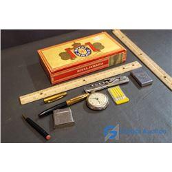 Vintage Royal Jamaica Cigar Box w/Misc Items