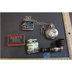 Vintage Misc (Pipe, Pocket Watch, Match Box, Lighters)