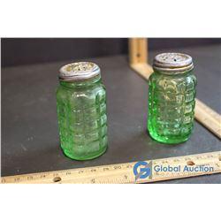 Pair of Depression Glass Salt & Pepper Shakers