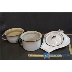 Enamel Chamber Pots & Bedpan