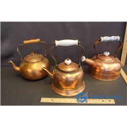 (3) Copper Kettles