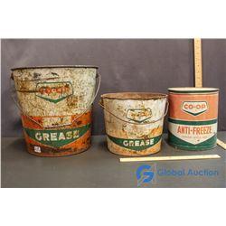 (2) Co-Op Grease Buckets & Anti-Freeze Tin