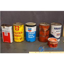 (6) Vintage Oil Tins (Havoline, Esso, Chevron, etc)