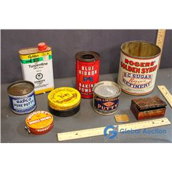 (8) Vintage Kitchen and Household Related Tins (Rogers Sugar, Linseed Oil, Baking Powder, Shoe Polis
