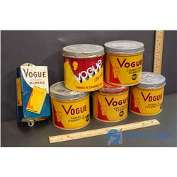 (5) Vogue Tobacco Tins and Paper Holder