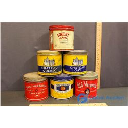(2) Chateau, (3) Old Virginia & Sweet Caporal Tobacco Tins