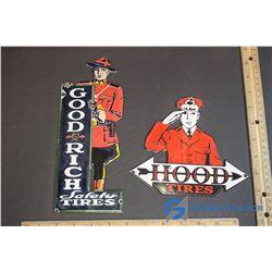 Vintage Good Year & Hood Advertising Porcelain Door Push Signs