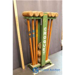 Vintage Croquet Set W/ Caddy