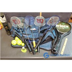 Athletic Works Bag w/ Tennis Racket, (5) Badminton Rackets, (1) Birdy, & misc Balls
