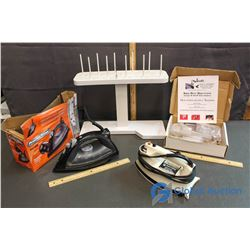 (2) Irons and Sewing Equipment