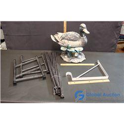 Garden Duck, Metal Hanging Bracket, and Metal Shoe Rack