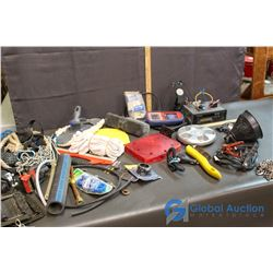 Auto Link, Kenwood Cassette Player, Car Wash Brushes, Table Vice and Other Garage Related