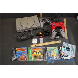 PlayStation 1 w/3 Controllers, 5 Games, Memory Card, Power Cable, AV Cable, etc.