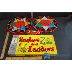"Game Boards - ""Chinese Checkers with Wooden Checkers & Regular Checkers"" & Vintage ""Snakes & Ladders"