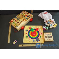 Assortment Of Children's Wooden Toys Blocks