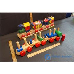 (NIB) Lil' Engineer Stacking Block Train Set & Wooden Block Train (with most blocks)