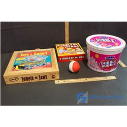 Trip Back into Old School Time - Wooden Toy & Games Set, Tiddledy Winks, Pail of Dubble Bubble Gum,