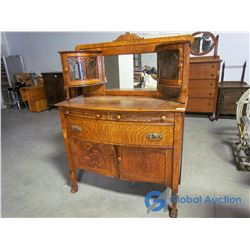 Ornate Oak Buffet with Round Glass Hutch Doors