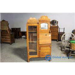Vintage Wooden Cabinet with Glass Door Display & Mirror