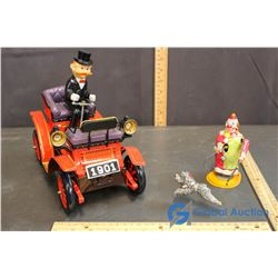 Tin Toy Car and Clown w/ Dog